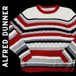 ALFRED DUNNER Petite Red Black Striped Sweater MP